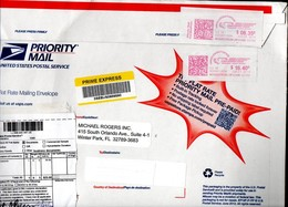 2014 Obscure Pair Od=f Meter Markings 8,35 + 16,40 = 14,75 On Very Large Envelope To Netherlands (573) - United States