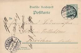 Karte Aus Demmin Nach Zwickau  1901 - Allemagne