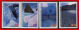 AUSTRALIA 1996 AUSTRALIAN ANTARCTIC TERRITORY AAT ICE PAINTINGS EXTREME LANDSCAPES NHM PLANES SG 113-116 Cave Lake - Australian Antarctic Territory (AAT)