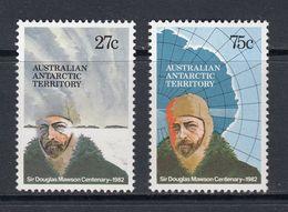 AUSTRALIA 1982 AUSTRALIAN ANTARCTIC TERRITORY AAT SIR DOUGLAS MAWSON CENTENARY 100 YEARS NHM SG 53-54 EXPLORER GEOLOGY - Polar Explorers & Famous People