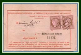 GC 2493 / N° 59 X 2 / Avis Expédition Objet Chargé Montmirail - Marne 1875 TB 4 Scans à Voir ! - Postmark Collection (Covers)