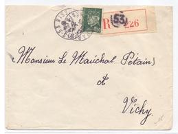 Lettre Adresse Au Marechal Petain En Recommandée D Office 4.50 Fr Petain De Paris 53 - Marcophilie (Lettres)