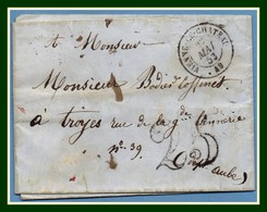 Type 15 2A Vienne Le Château 49 1853 + Taxe 25 > Troyes (ind 5) - Marcophilie (Lettres)