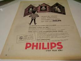 ANCIENNE PUBLICITE TELEVISEUR  PHILIPS 1959 - Musique & Instruments
