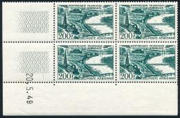 FRANCE AVION 1949 - Yv. PA 25 ** SUP En Bloc De 4 Coin Daté 20.5.49  Cote= 80,00 EUR - Bordeaux  ..Réf.FRA29015 - Dated Corners