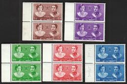 Iran 1939 / Royal Wedding / Crown Prince Mohammad Reza & Princess Fausia Bint Fuad / MNH / Mi 740-744 - Familles Royales