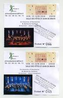Concert Festival Des Lyres De Son 2018 - Saint Jean De Braye - Lot De 2 Tickets Différents - Tickets De Concerts