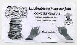 Ticket De Concert Gratuit à La Librairie De Monsieur Jean à Saint-Jean De Braye. 8 Décembre 2017 - Tickets De Concerts