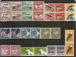 Emission Complète Definitive Année 1968 Yv.69/82 Surchargés Republic Of Nauru, En Paires Se-tenant Neufs ** Côte 45  € E - Nauru
