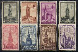 E17 - Belgium - 1939 - OBP 519/526 Mint Hinged - Turberculose Control / Belfries - Belgium