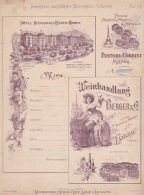 260818 - PUBLICITE SUISSE Vigne Tonneau Vin Cave BERGER & Co LANGNAU Tour Eiffel MILANO HOTEL BADEN BADEN Menu Chéru - Publicité