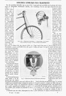 ENTRAINEUR AUTOMATIQUE POUR VELOCIPEDISTES  1894 - Transports