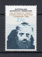 AUSTRALIA 1983 AUSTRALIAN ANTARCTIC TERRITORY AAT 12TH TREATY CONSULTATIVE MEETING CANBERRA MAWSON NHM SG 60 EXPLORER - Mint Stamps