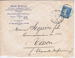 Enveloppe En-tête - HERAULT - Jean DIEUX - Location De Cuves - Wagons - Succursale à CETTE - Documentos Históricos