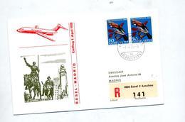Lettre Recommandee Bale Vol Swissair Bale Madrid - Airplanes