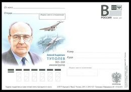"RUSSIA 2015 ENTIER POSTCARD 112/1 Mint TUPOLEV AVIATION DESIGNER ENGINEER ""TU-144"" AIRPLANE AEROPLANE Concorde TRANSPORT - Concorde"