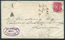 1902 India John Davies & Co Calcutta Cover - London GB Via Sea Post Office - India (...-1947)