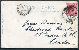 1907 India Madras Street Scene Postcard - Chartered Bank, London Via Sea Post Ofice - India (...-1947)