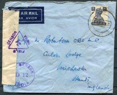 Ww2 India Airmail Air Letter, Field Censor / Unit Censor - Winchester GB - 1936-47  George VI