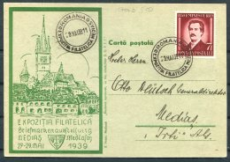 1939 Romania Medias Philatelic Exhibition Postcard - Cartas