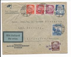 DR  582 MiF - 95 Pf Bunte Frankatur Auf Luftpost-Firmenbrief V. Mannheim über Leipzig N. Singapur Verwendet - Deutschland