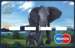 UKRAINE NADRA BANK MAESTRO CARD FAUNA ANIMALS ELEPHANT ELEFANT PERFECT USED CONDITION - Geldkarten (Ablauf Min. 10 Jahre)