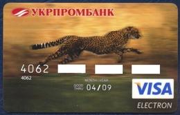 UKRAINE UKRPROMBANK VISA ELECTRON BANK CARD FAUNA ANIMALS CHEETAH PERFECT USED CONDITION - Geldkarten (Ablauf Min. 10 Jahre)