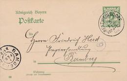 Ganzsache Aus Rentweisndorf  Nach Bamberg 1904 - Beieren