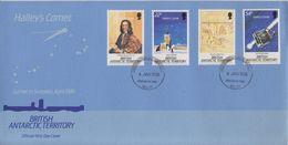 British Antarctic Territory (BAT) 1986 Halley's Comet 4v FDC (F7408) - FDC