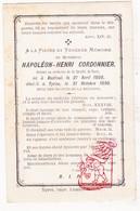 DP Pieuse - Dr. Napoleon H. Cordonnier ° Bailleul Belle FR Nord 1808 † Ieper BE 1890 Faculté Paris - Images Religieuses