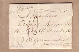 """MILITARIA - LETTRE DE CADIX POUR SAINT GERMAIN EN LAYE , MARQUE """" ARMEE D'ESPAGNE ( R ) """" + 2 AUTRES MARQUES ?? - 1825 - Army Postmarks (before 1900)"""