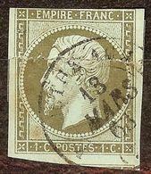EXTRA NAPOLEON N°11 1c Olive Oblitéré Cachet à Date Cote 100 Euro PAS D'AMINCI - 1853-1860 Napoléon III