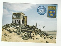 SWEDISH MILITARY UN FORCES Postcard Soldiers UN Desert Observation Post 'On The Post For Peace' United Nations Sweden - Manoeuvres