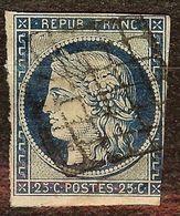 EXTRA CERES N°4a 25c Bleu Foncé Oblitéré GRILLE 1849 Cote 70 Euro PAS D'AMINCI - 1849-1850 Cérès