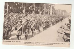 1919 France WWI VICTORY PARADE English Troops In Parade On Champs Elysee ,  Paris Military British Forces , Postcard - War 1914-18