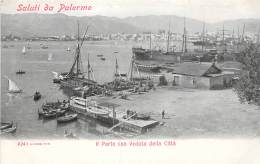 ITALIE  SALUTI DA  PALERMO PORTO CON VEDUTA DELLA CITTA - Palermo