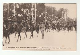 1919 France WWI VICTORY PARADE Marshall Douglas Haig And His Staff , Paris Military British Forces Horse Postcard - War 1914-18