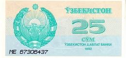 Uzbekistan P.65  25 Som 1992   Unc - Uzbekistán