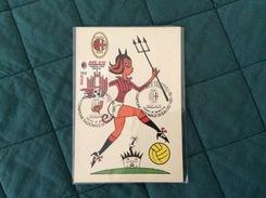 Cartolina Allegorica Con Francobollo Milan Campione D'Italia 1991-92 Annullato Primo Giorno Di Emissione - Equipos Famosos
