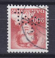 Denmark Perfin Perforé Lochung (T25) 'top' Topsikring, København (Mi. 754) Margrethe II. Stamp (2 Scans) - Abarten Und Kuriositäten
