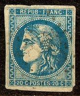 SUPERBES MARGES / BORDEAUX N°46 Ba 20c Bleu Foncé Oblitéré Losange GC Cote 70 € - 1870 Emission De Bordeaux