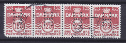 Denmark Perfin Perforé Lochung (H03) 'H' Hjemmeværnet (National Guard) (Mi. 964) 4-Stripe 125 Øre Wellenlinien !! - Abarten Und Kuriositäten
