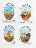 S. TOME' E PRINCIPE - 1993 - Lotto 4 Francobolli Tematica Funghi - Usati - (FDC11560) - Sao Tomé E Principe