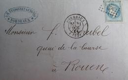 R1861/714 - ✉️ - NAPOLEON III Lauré N°29B - GC 532 BORDEAUX 31 OCTOBRE 1868 > ROUEN - 1863-1870 Napoléon III. Laure