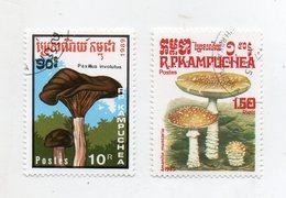 KAMPUCHEA (CAMBOGIA) - 1985/1989 - Lotto 2 Francobolli Tematica Funghi - Usati - (FDC11565) - Kampuchea