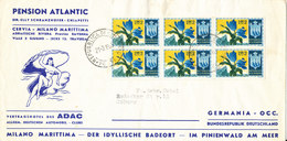 San Marino Cover Sent To Germany 21-3-1965 Hotel Atlantic With A Block Of 6 Flowers - San Marino