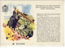 REPUBBLICA DI SAN MARINO ENTE GOVERNATIVO PER IL TURISMO SPORT E SPETTACOLO BIGLIETTO - Tickets D'entrée