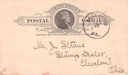 USA - POSTCARD ONE CENT 1889 TARENTUM - CLEVELAND Sc #UX 9 - ...-1900