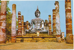 Thailand Postcard Image Of Budha At Wat (Temple) Maha That In Sukhothai Province Of Thailand Sent To Germany 21-3-1980 - Thailand