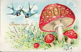 Année Date Millesime - 1906 - 2 Hirondelles Et Champignons - Gaufré, Embossed - New Year